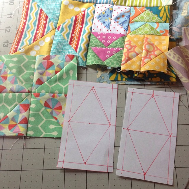 This is how I draw my paper piecing templates @flourishingpalms I use my cutting mat and grid rulers to measure everything