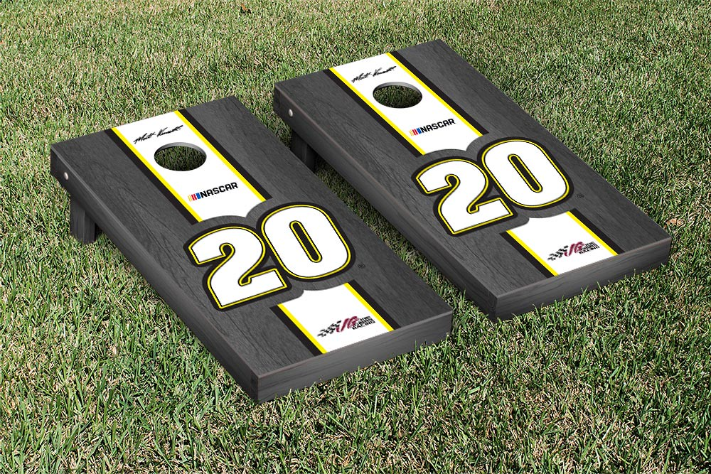 MATT KENSETH #20 CORNHOLE GAME SET ONYX STAINED STRIPE VERSION (1)