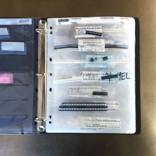 Organizing SMD parts in 35mm negative notebook pages