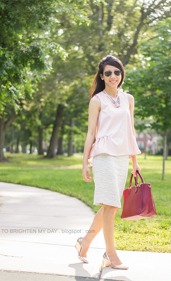 pink peplum top, blue tweed skirt, pink metallic rose wedges, berry tote