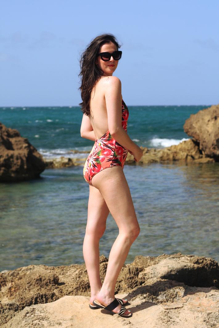& Other Stories fruit print bathing suit, zebra print slide on sandals