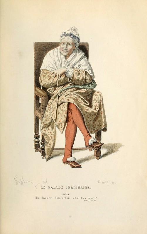 019-El enfermo imaginario -Oeuvres completes ornee de portraits en pied colories…1871- Moliere