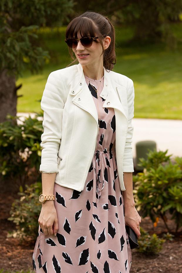 Loft Midi Dress, White Moto Jacket, Meku Sunglass Case