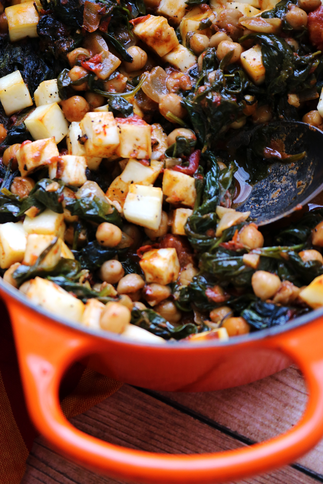 One-Pot Baked Paneer with Chickpeas and Spinach