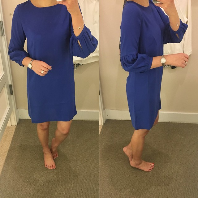 LOFT Lantern Sleeve Shift Dress, size 00 regular