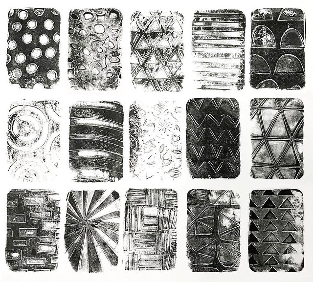 Day 25 #patternjanuary #blackandwhite I used my #gelliarts mini rectangle and my hand cut paper stencils. They are all secondary prints, printed once through the stencil, then removed the stencil and printed again. There's something about printing like th