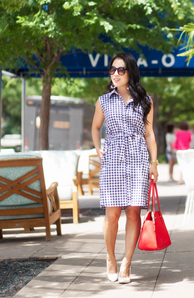 cute & little blog | petite fashion | gingham shirtdress, j. crew tortoise flower chandelier earrings | summer july 4th outfit