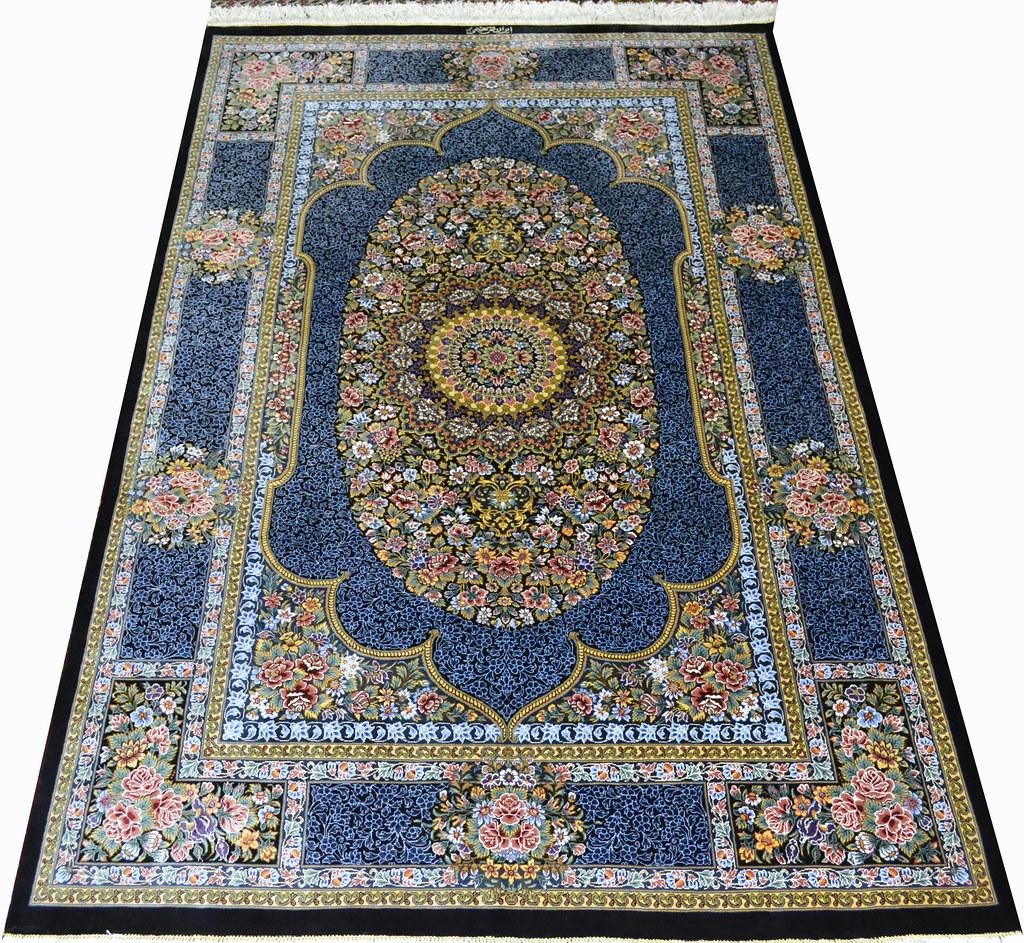 Qum Pure Silk Persian Rug Blue 3x5 Masterpiece 1000 KPSI (3)
