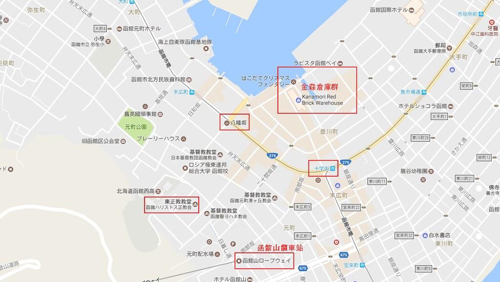 函館灣區地圖
