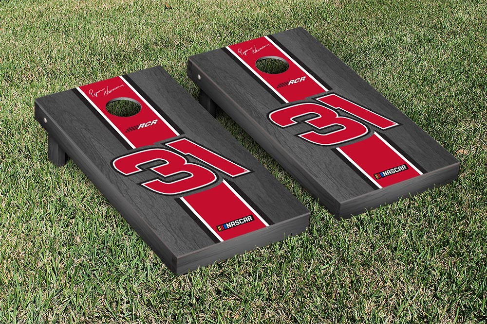 RYAN NEWMAN #31 CORNHOLE GAME SET ONYX STAINED STRIPE VERSION (1)