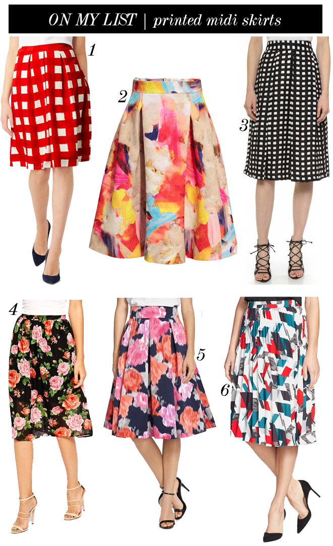 on my list printed midi skirts