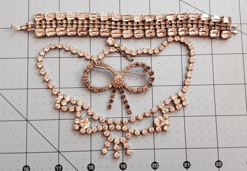 Vintage Diamante Necklace, Bracelet and Brooch