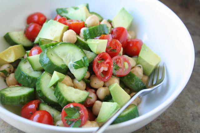 chickpea, cucumber, tomato and avocado salad [ inthiskitchen.com ]