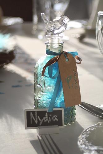 Glass bottle wedding favors