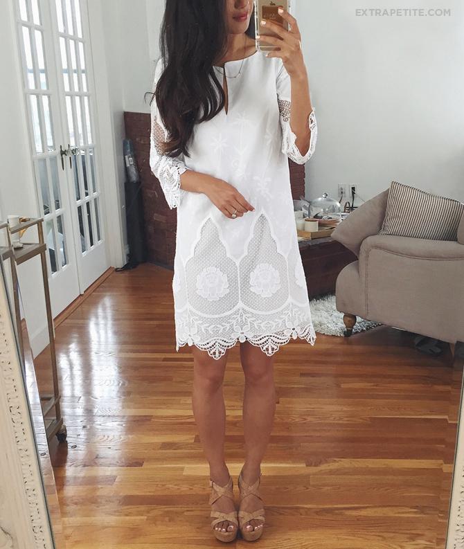 ann taylor white lace tunic dress