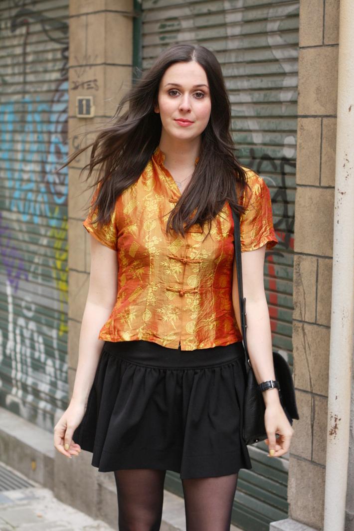 outfit: mustard silk cheongsam top, skater skirt