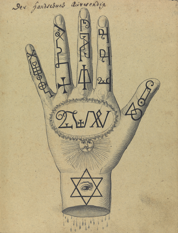 L0076356 Figure of hand showing cabbalistic signs and sigils