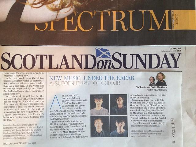 Olaf Furniss and Derick Mackinnon Scotland On Sunday, Spectrum Magazine 21 June 2015, A Sudden Burst of Colour