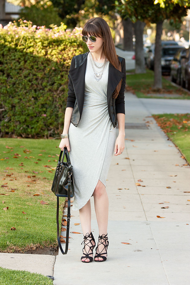 Happiness Boutique Necklace, Grey Midi Dress