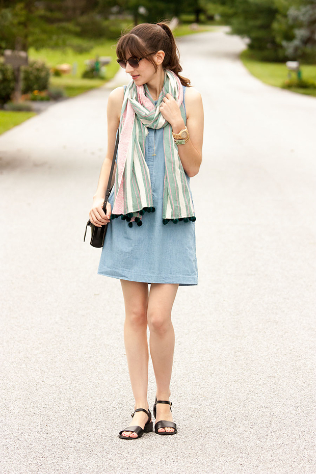 Everlane Chambray Dress, Pom Pom Scarf