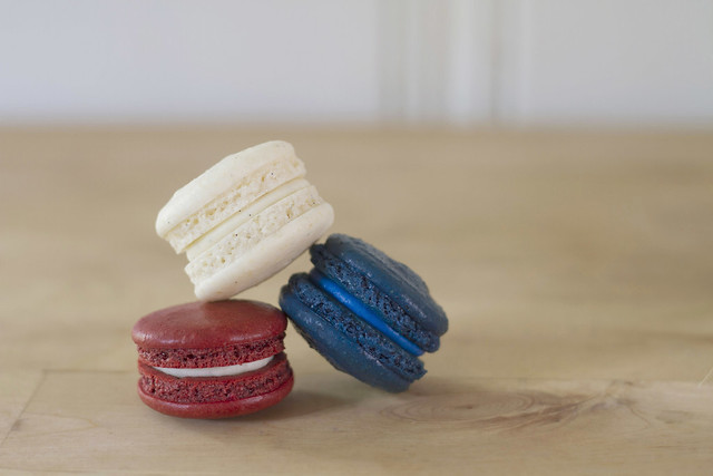 red, white, and blue macarons