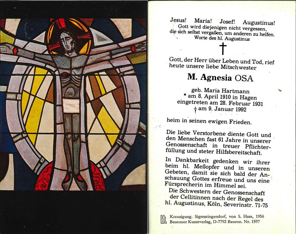 Totenzettel Schwester Agnesia † 09.01.1992
