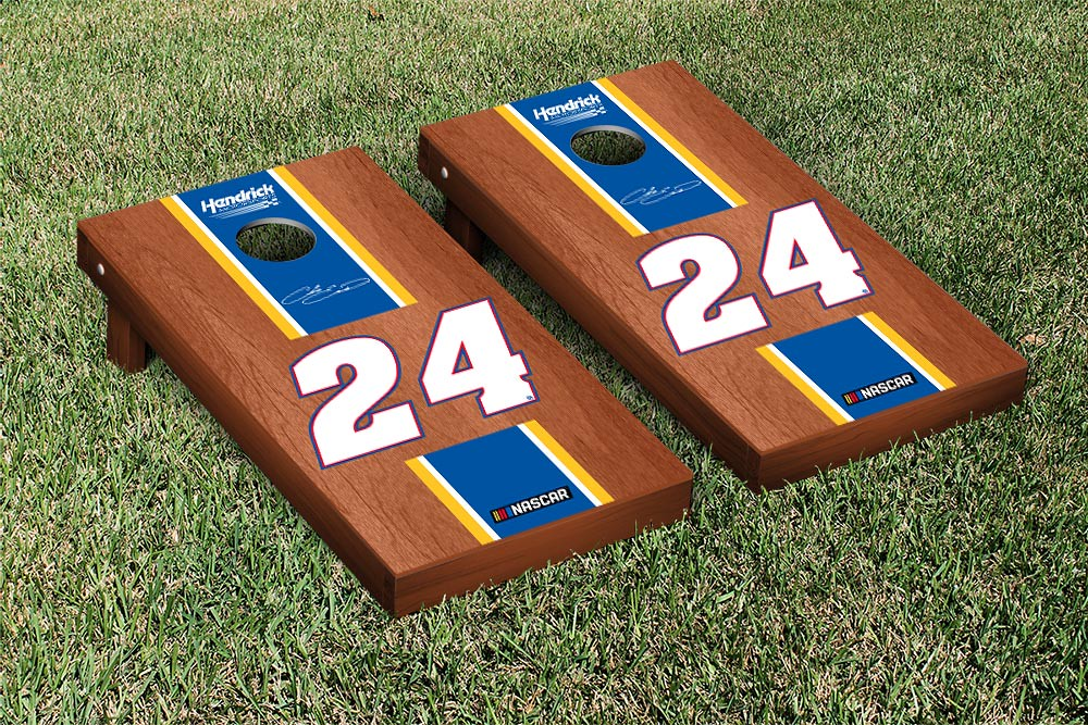 CHASE ELLIOT #24 CORNHOLE GAME SET ROSEWOOD STAINED STRIPE VERSION (1)