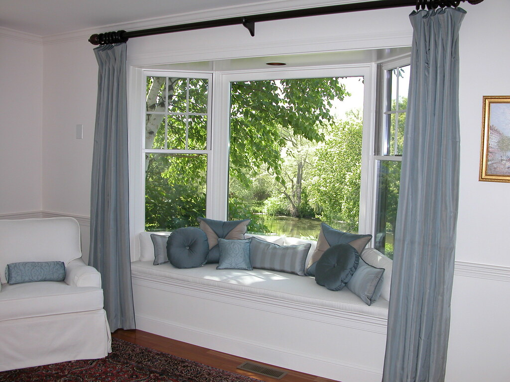 Bay Window Seat With Pillows Panels And Chair Slipcover