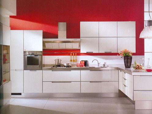 Cocina blanca perfil aluminio amoblamiento de cocina en for Cocinas en 3d gratis