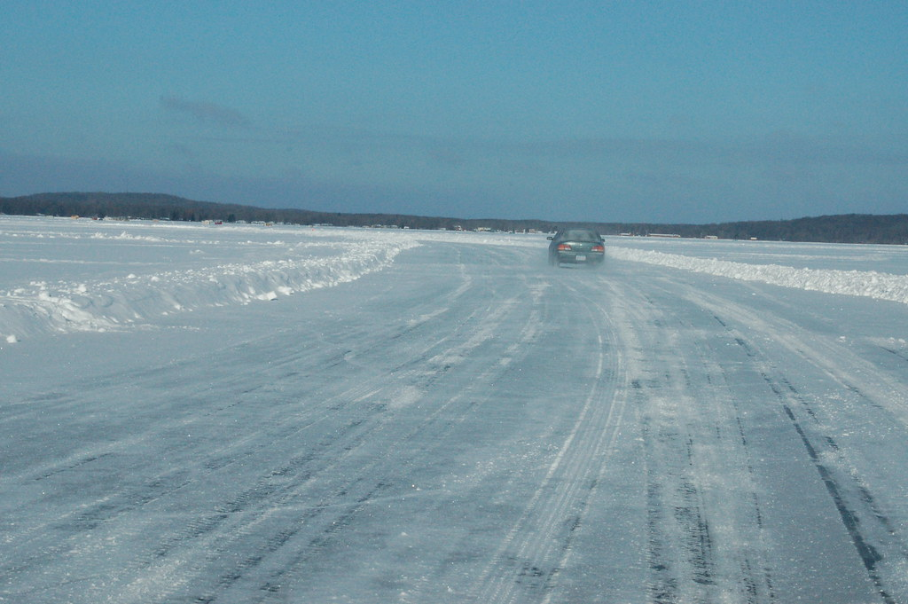 Driving across frozen lake mille lacs ice fishing on for Lake mille lacs ice fishing