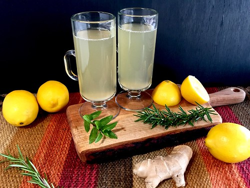 ginger tea with lemon and honey for two
