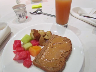 Breakfast Day 1 Part 2 - PB toast, fruit, roast potatoes, grapefruit juice