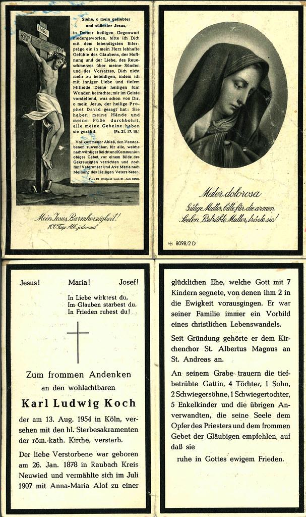 Totenzettel Koch, Karl Ludwig † 13.08.1954