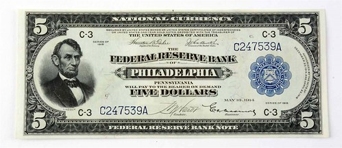 1918 Five Dollar Note Front