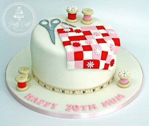 Quilting Cake Decorating : Sewing Patchwork Quilting Birthday Cake. #Cake, #Patchwork? Flickr