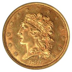 1834 Half Eagle gold coin
