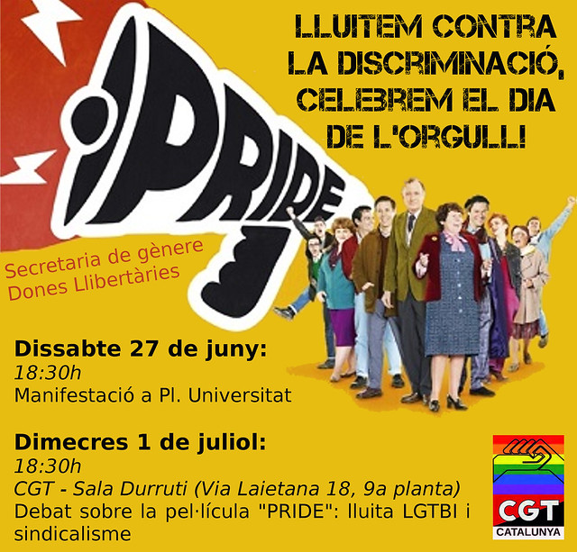 Lluitem contra la discriminació, celebrem el dia de l´orgull! Manifestació 27 de juny a Barcelona i debat l´1 de juliol a CGT a Barcelona #LGTBI