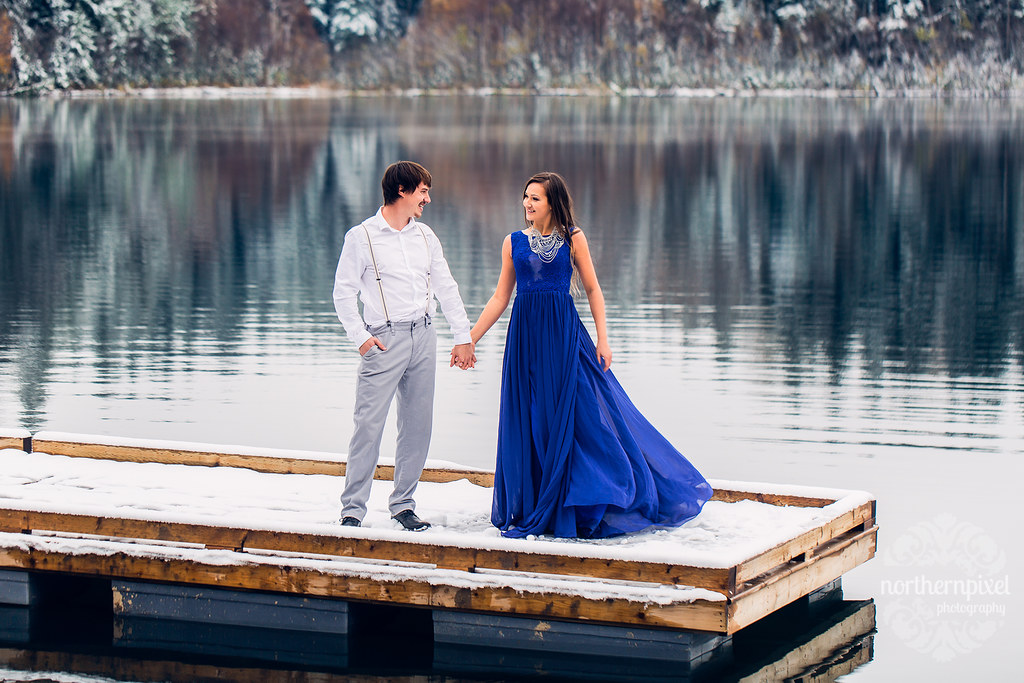Winter Lake Engagement Session, Prince George BC