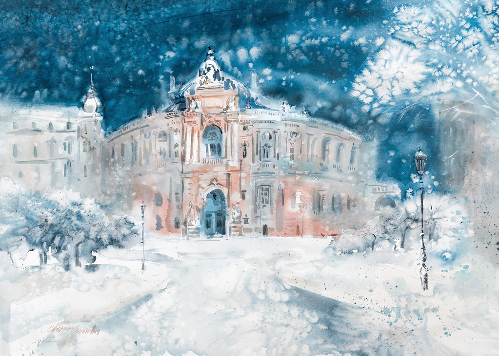 Odessa Opera Theatre. Snowing.