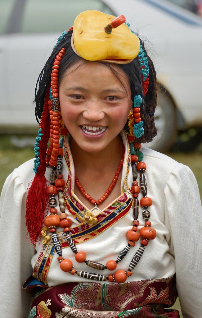 She Wears It Well Bbc News Presenter Ellie Crisell On: She Is Wearing Her Family`s Jewelry, Tibet 2014