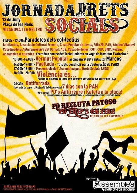 Jornada pels drets socials a Vilanova i la Geltrú, el 13 de juny a Vilanova i la Geltrú