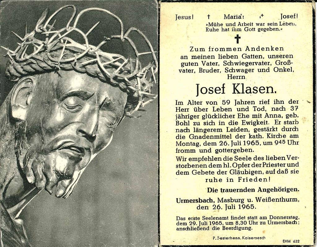 Totenzettel Klasen, Josef † 26.07.1965
