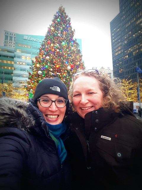 My friend Sally and I in Downtown Detroit - look how fashionable AND WARM I am in my Bushman Outfitters jacket!