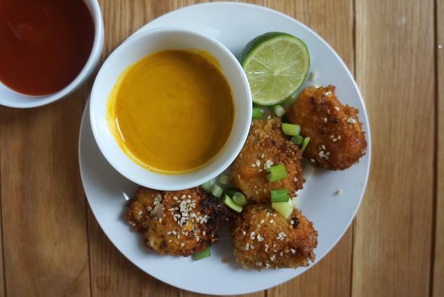 Sweet potato duck croquetas