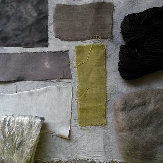 Results from dyeing with rose leaves with a tsp of iron. None of the fibres were mordanted prior dyeing. Linen, viscose jersey & viscose tops are light silver grey, silk pongee and habotai mid to dark grey. Merino tops & wool fabric are khaki grey. Anothe | by red2white
