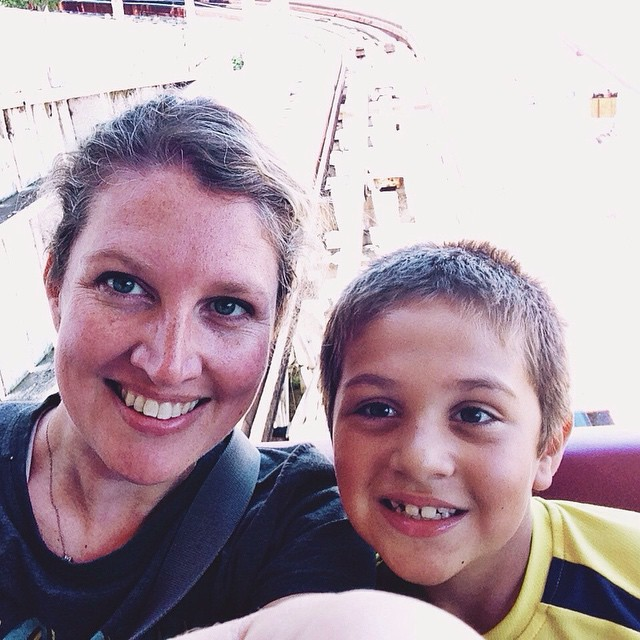 Owen and I ready to ride the Legend! #summer2015 #arnoldspark #woodencoster