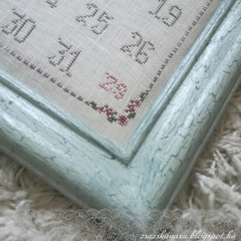 perpetual calendar, öröknaptár, cross stitch, cracked frame ,  patter, (5)
