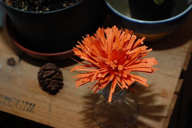 Orange flower made of paper