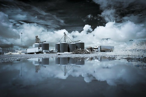 USA Midwest America Mid-America Notley Notley Hawkins 10thavenue http://www.notleyhawkins.com/ Missouri Photography Notley Hawkins Photography Rural Photography Missouri infrared June 2015 Macon County Missouri Macon Missouri silos grain elevators rural puddle water reflection low-angle reflect sky clouds
