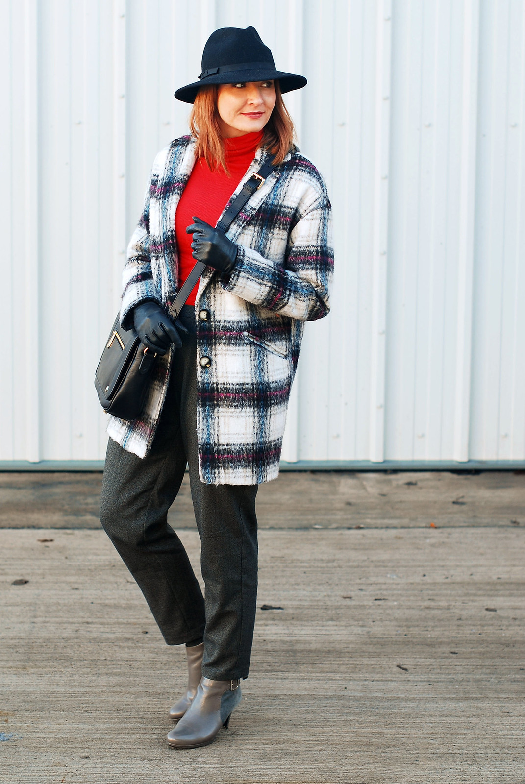 Bold and bright outfit for cold weather: Black, white and red check cocoon coat  red roll neck  grey peg leg trousers pants  grey ankle boots  Jennifer Hamley mini KT work bag  black fedora | Not Dressed As Lamb, over 40 style blog